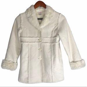 Gymboree Girls White Suede Faux Fur Jacket